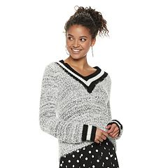 Juniors' SO® Varsity Striped V-Neck Sweater