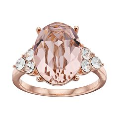 Brilliance 14k Rose Gold Plated Vintage Rose Crystal Oval Ring