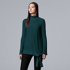 Women's Simply Vera Vera Wang Side-Tie Ribbed Turtleneck Sweater