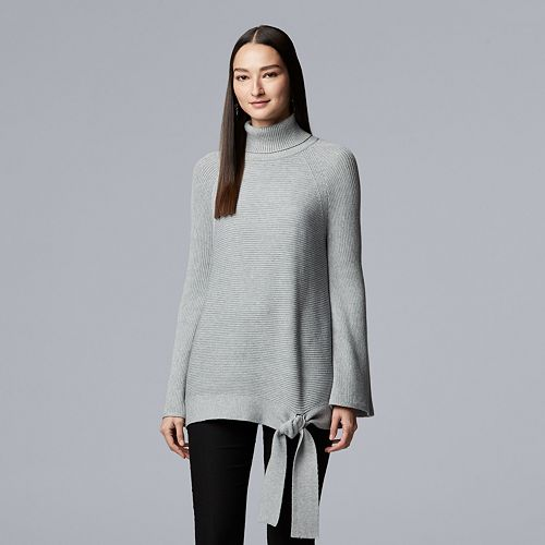 Vera Wang Side-Tie Ribbed Turtleneck Sweater