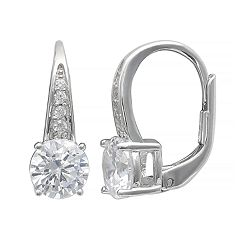 PRIMROSE Sterling Silver Cubic Zirconia Leverback Earrings