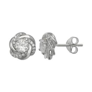 PRIMROSE Sterling Silver Cubic Zirconia Love Knot Stud Earrings