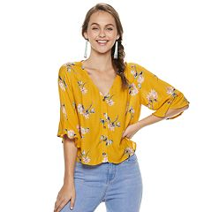 Juniors' Rewind Floral Button Front Top