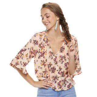 Juniors' Rewind Floral Button Front Top