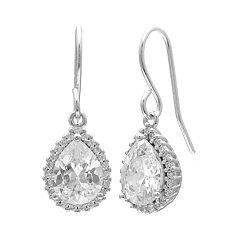 PRIMROSE Sterling Silver Cubic Zirconia Teardrop Earrings