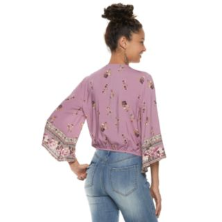 Juniors' Rewind Floral Surplice Top