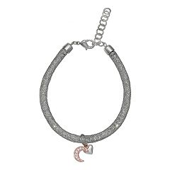 Brilliance Heart & Moon Mesh Bracelet with Swarovski Crystals
