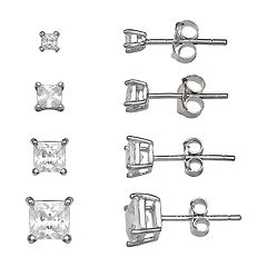 PRIMROSE Sterling Silver 4-Pair Princess Cut Cubic Zirconia Stud Earring Set