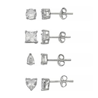 PRIMROSE Sterling Silver Geometric Stud Earring Set
