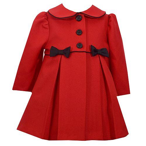 Baby Girl Bonnie Jean Bow Pleated Coat
