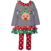 Baby Girl Bonnie Jean Reindeer Striped Dress & Polka-Dot Leggings Set