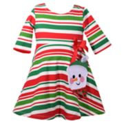 Baby Girl Bonnie Jean Striped Snowman Dress