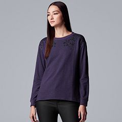 Women's Simply Vera Vera Wang Embroidered Drop-Shoulder Sweatshirt