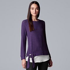 Women's Simply Vera Vera Wang Mock-Layer Knot Top