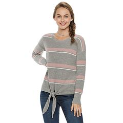 Juniors' Pink Republic Tie-Front Sweater