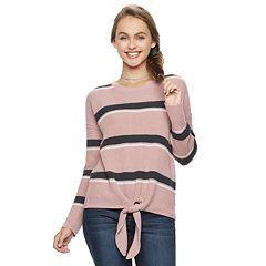 Juniors' Pink Republic Tie-Front Sweater