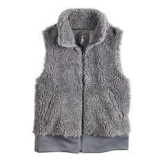 Girls 7-16 SO® Cozy Sherpa Full Zip Vest
