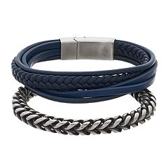 1913 Men's Twisted Stainless Steel & Braided Genuine Leather Bracelet Set