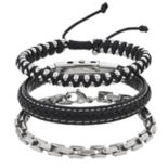 1913 Men's 3-piece Stainless Steel Braided Leather Bracelet Set