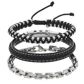 1913 Men's 3-piece Stainless Steel Braided Leather Bracelet Set