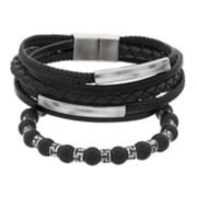 1913 Men's 3 Piece Genuine Leather Bracelet Set