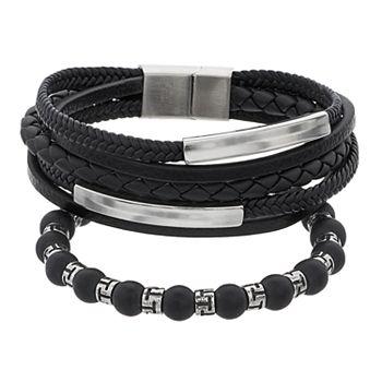 3 Piece Genuine Leather Bracelet Set