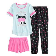Girls 4-14 & Plus Size SO® Top, Shorts & Jogger Pants Pajama Set