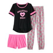 Girls 4-14 & Plus Size SO® Top, Shorts & Jogger Pants Pajama Set