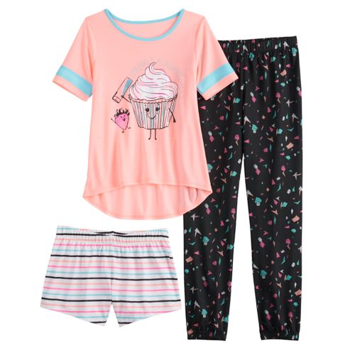 Girls 4 14 &Amp; Plus Size So® Top, Shorts &Amp; Jogger Pants Pajama Set by Girls 4 14 &Amp; Plus Size So