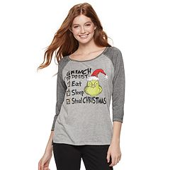 Juniors' The Grinch Christmas Raglan Graphic Tee