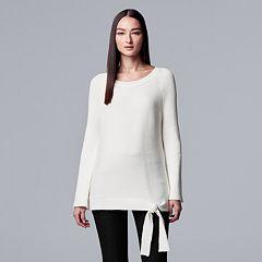 Petite Simply Vera Vera Wang Side-Tie Ribbed Crewneck Sweater