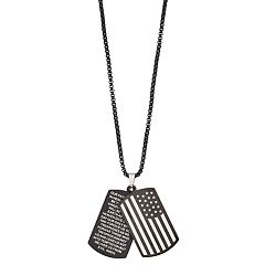 1913 Men's Stainless Steel Lord's Prayer American Flag Dogtag Necklace