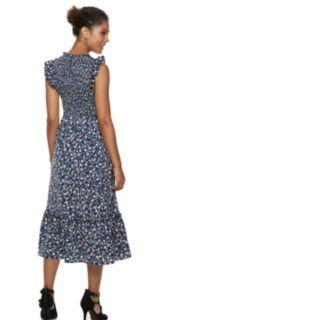 Women's POPSUGAR Ruffle Smocked Midi Dress