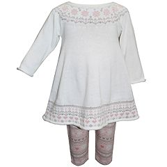 Baby Girl Blueberi Boulevard Fairisle Sweaterdress & Leggings Set