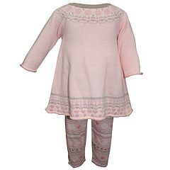Baby Girl Blueberi Boulevard Fairisle Sweaterdress & Print Leggings Set