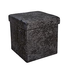 Simplify Velvet Collapsible Folding Storage Ottoman