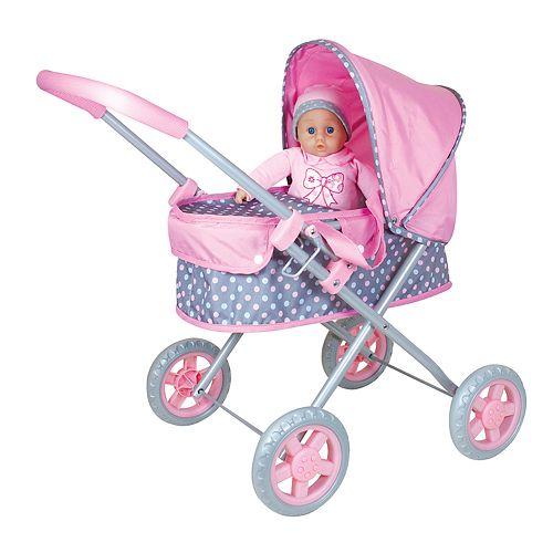 Lissi Dolls Baby Pram &14-in. Soft Baby Doll Set