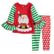 Baby Girl Rare Editions Embroidered Santa Top & Print Leggings Set