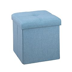 Simplify Small Solid Collapsible Storage Ottoman