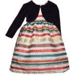 Toddler Girl Blueberi Boulevard Striped Taffeta Dress & Velvet Bolero Set