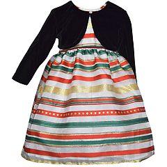 Toddler Girl Blueberi Boulevard Striped Taffeta Dress & Velvet Bolero Set