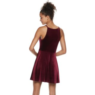 Juniors' Speechless Velvet Skater Dress
