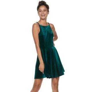 Juniors' Speechless Velvet Skater Dress
