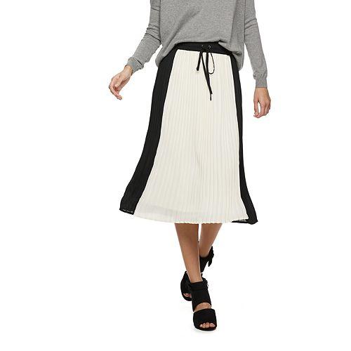 Women's POPSUGAR Colorblock Pleated Midi Skirt