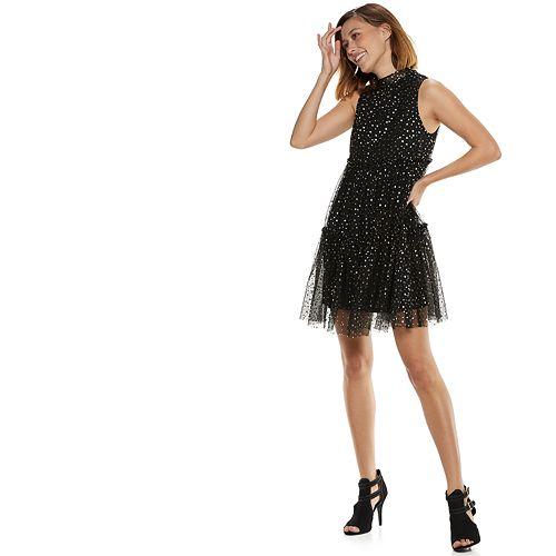 Women's POPSUGAR Metallic Star Tiered Party Dress