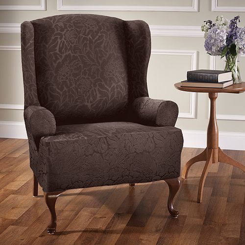 Jeffrey Home Stretch Sensations Stretch Floral Wing Chair Slipcover