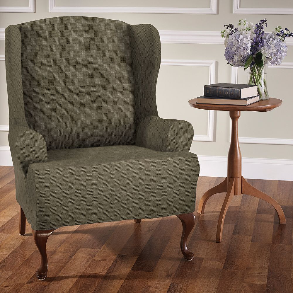 Jeffrey Home Stretch Sensations Stretch Newport Wing Chair Slipcover