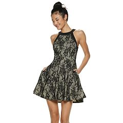 Juniors' Speechless High Neck Lace Skater Dress