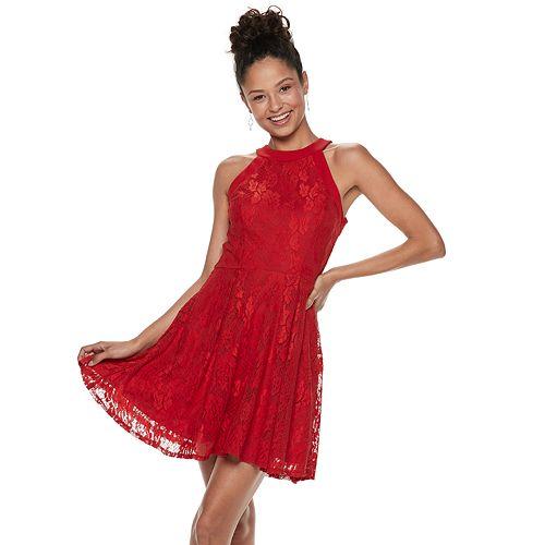 cb17f3ff2 Juniors' Speechless High Neck Lace Skater Dress
