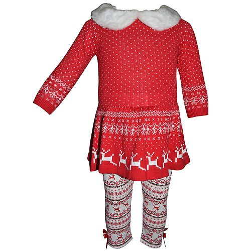 Toddler Girl Blueberi Boulevard Fairisle Sweaterdress & Print Leggings Set